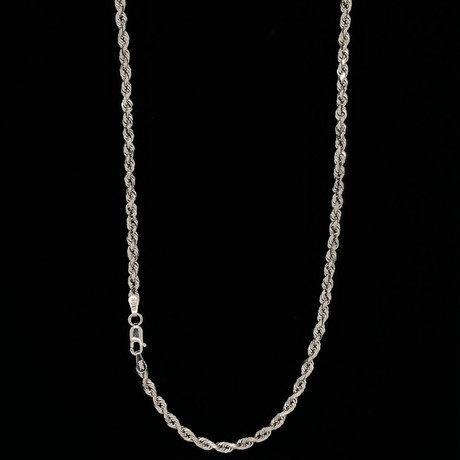 """10K White Gold Hollow Rope Chain Necklace // 3mm (16"""")"""
