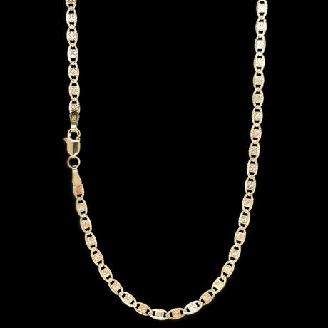 """14K Three-Tone Solid Gold Diamond Cut Celestial Chain Necklace // 3mm (16"""")"""