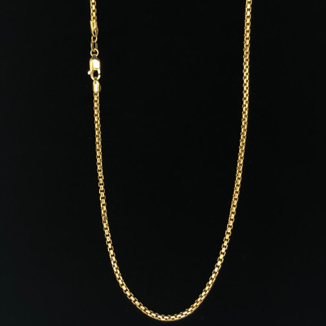 """10K Solid Yellow Gold Round Box Chain Necklace // 2.5mm (18"""")"""