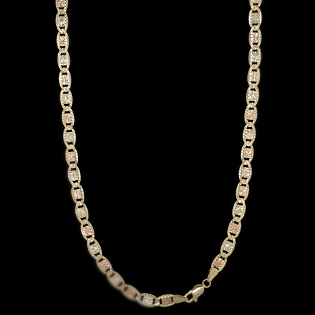 """14K Three-Tone Solid Gold Valentino Chain Necklace // 5mm (20"""")"""