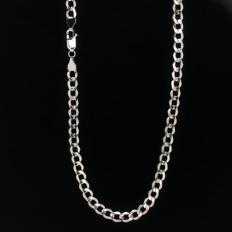 "14K White Gold Hollow Cuban Chain Necklace // 5mm (20"")"