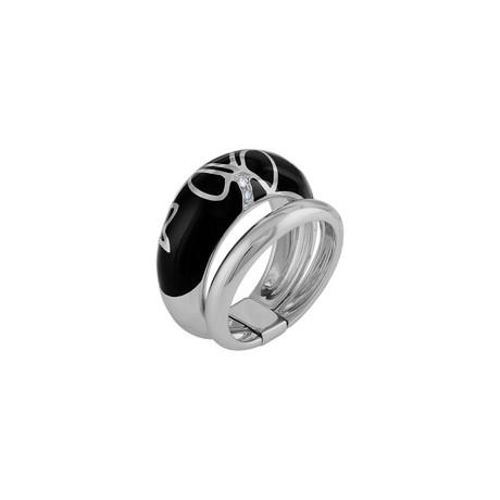 Nouvelle Bague Kenya 18k White Gold Diamond + Black Enamel Ring // Ring Size: 7