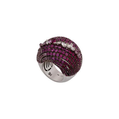 Stefan Hafner Promise 18k White Gold Diamond + Ruby Ring // Ring Size: 7