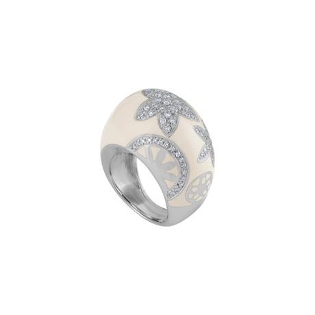 Nouvelle Bague India Preziosa 18k White Gold Diamond + White Enamel Ring // Ring Size: 5.25
