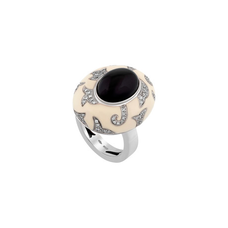 Nouvelle Bague 18k White Gold Diamond + Onyx Ring // Ring Size: 7.75