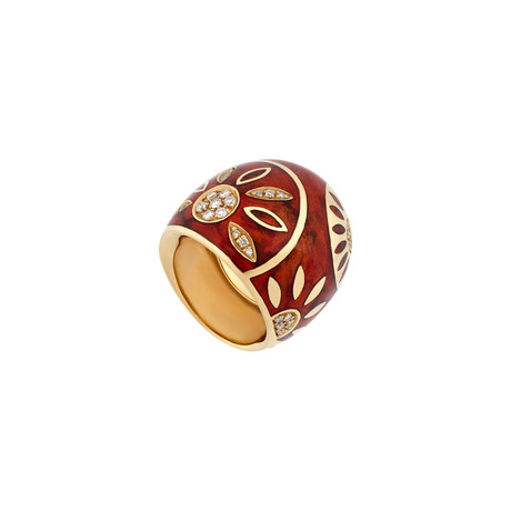 Nouvelle Bague 18k Yellow Gold Diamond + Red Enamel Ring // Ring Size: 7