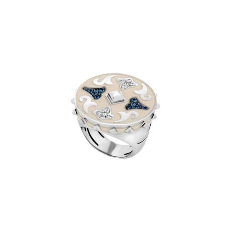 Nouvelle Bague 18k Two-Tone Gold White Enamel Diamond Ring // Ring Size: 6.75