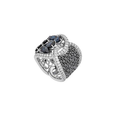 Stefan Hafner 18k White Gold Diamond + Sapphire Ring // Ring Size: 6.5