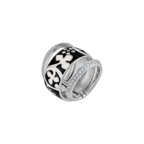 Nouvelle Bague Semi d'Amore 18k White Gold Diamond + Enamel Ring // Ring Size: 7