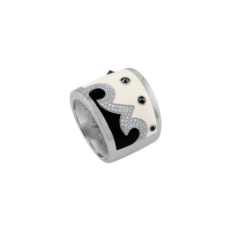Nouvelle Bague Kenya 18k White Gold Diamond + White Enamel Ring // Ring Size: 7.25