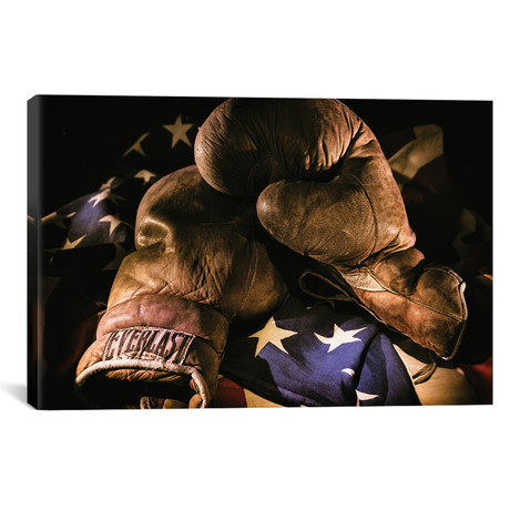 """Pair of vintage boxing gloves laying on a flag by Sheila Haddad (26""""W x 18""""H x 0.75""""D)"""