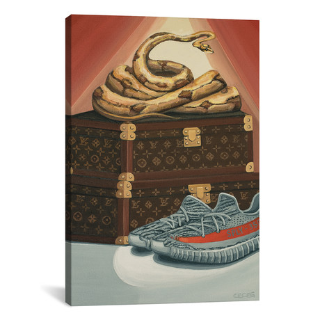 """Python Snake On Louis Vuitton Trunks And Yeezys // CeCe Guidi (18""""W x 26""""H x 0.75""""D)"""