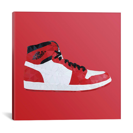 """Air Jordan 1 Retro High: White/Black-Red by 5by5collective (18""""W x 18""""H x 0.75""""D)"""