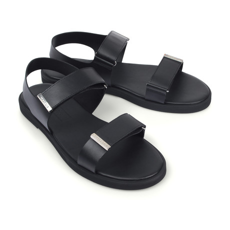 Versace Collection // Leather Sandals // Black + Nickel (Euro: 39)