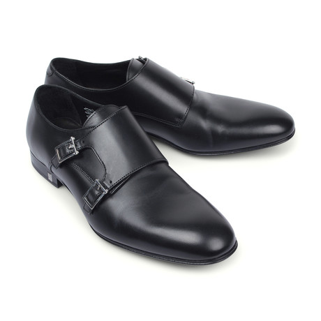 Versace Collection // Leather Double Buckle Monk Shoe // Black + Nickel (Euro: 39)