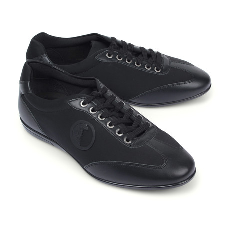 Versace Collection // Two Tone Fashion Sneaker // Black + Nickel (Euro: 39)