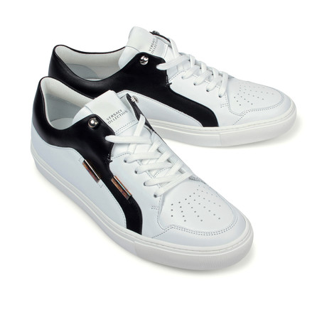Versace Collection // Two-Tone Fashion Sneaker // White + Black + Nickel (Euro: 39)