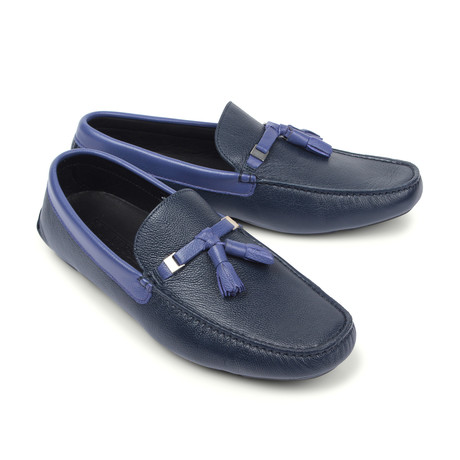 Versace Collection // Two-Tone Tassel Driver Shoe // Blue + Violet + Nickel (Euro: 39)