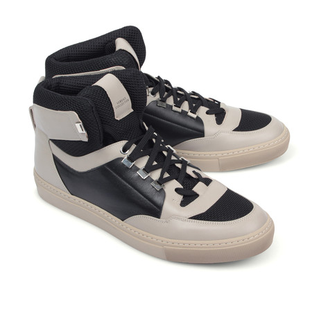 Versace Collection // Hi-Top Fashion Sneaker // Beige + Black + Nickel (Euro: 39)