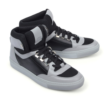 Versace Collection // Hi-Top Fashion Sneaker // Gray + Black + Nickel (Euro: 39)