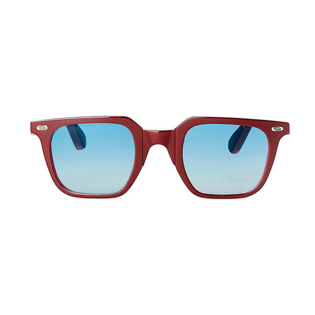 Laudo Collection Marconi Unisex Sunglasses // Crystal Ruby + Light Blue Gradient