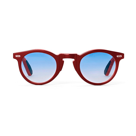 Laudo Collection Volta Unisex Sunglasses // Crystal Ruby + Light Blue Gradient
