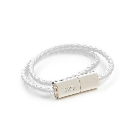 "Double Loop Charging Bracelet // White + Silver // iPhone (14.9""L)"