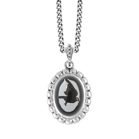 """Skull Bezel Pendant + Etched Onyx Stone // 24""""L Curb Link Chain"""