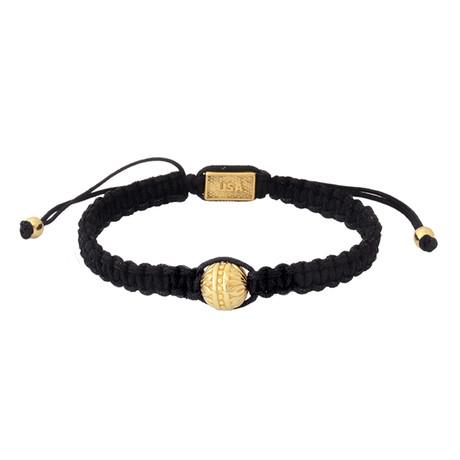 Macrame Bracelet + Single Brass Flower Bead