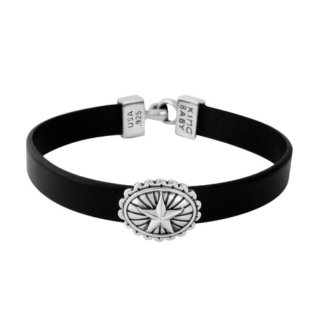 "Black Leather Bracelet + Star Concho // 8""L"