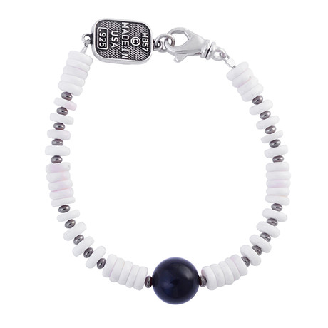 White Shell Bead Bracelet + Round Onyx Bead