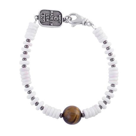 White Shell Bead Bracelet + Round Tiger Eye Bead