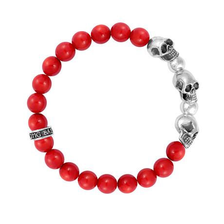 Red Coral Bead Bracelet + Skulls/Silver // 8mm