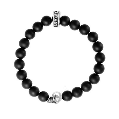 Onyx Bead Bracelet + Silver Skulls // 8mm