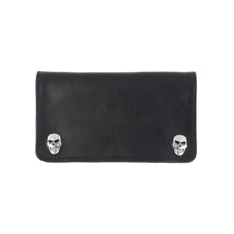 Leather Wallet + Skull Snaps + Oval Logo