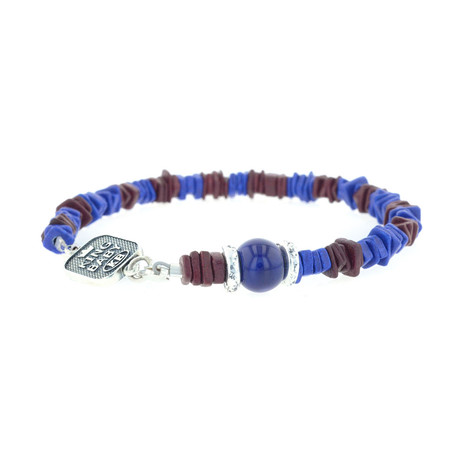 Blue and Burgundy Ceramic Chip Bracelet