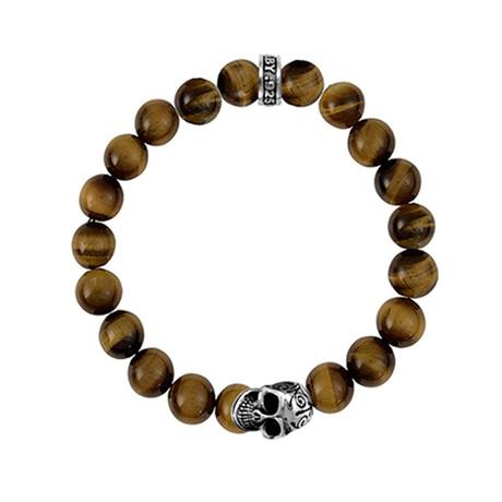Brown TigerEye Beaded Bracelet + DOTD Skull