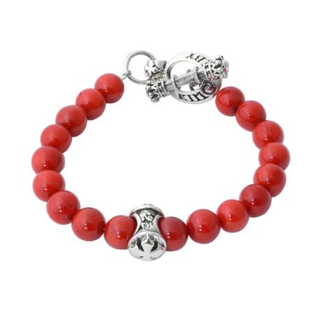 Red Coral Bracelet + MB Cross Divider Bead // 8mm