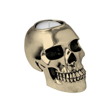 Brass Alloy Skull Candle Holder