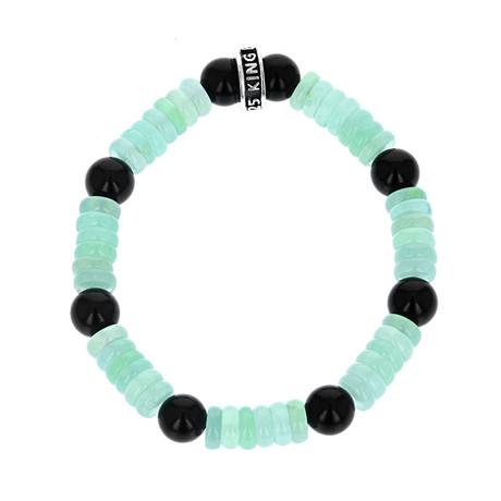 Chrysoprase + Polished Onyx Bracelet