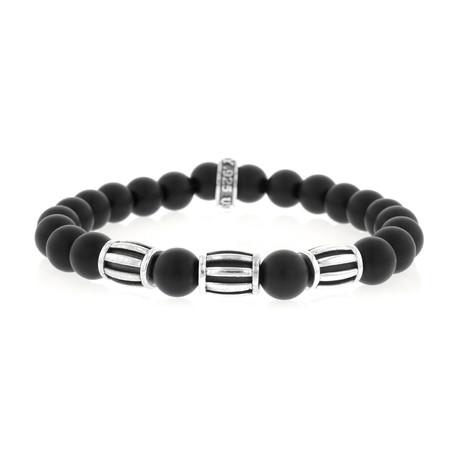 8mm Onyx Beaded Bracelet + Three Silver Barrel Beads