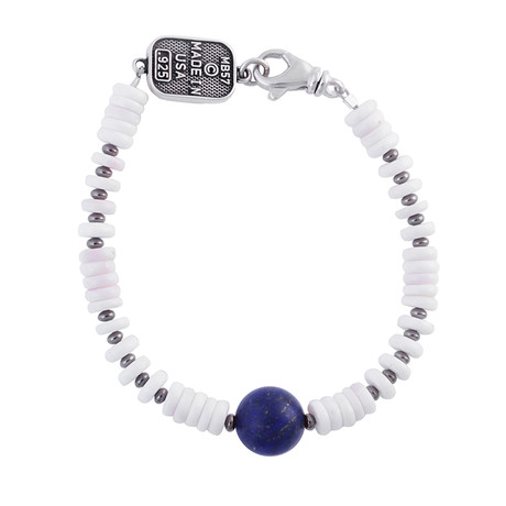 White Shell Bead Bracelet + Round Lapis Bead