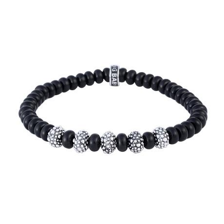 "Onyx Rondelle Bead Bracelet + 5 Stingray Beads // 6.5mm (7.5""L)"
