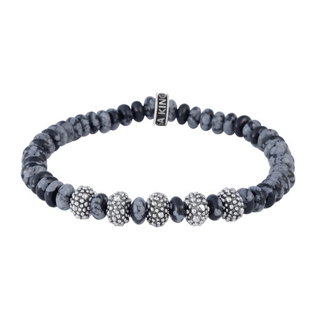 "6.5mm Snowflake Agate Rondelle Bead Bracelet + 5 Stingray Beads (7.5""L)"