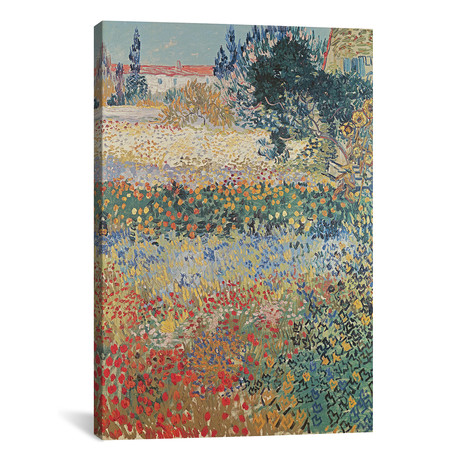 "Garden in Bloom, Arles, July 1888 (18""W x 26""H x 0.75""D)"