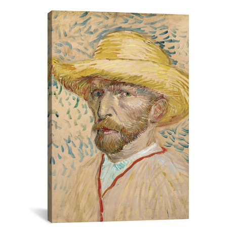 "Self Portrait With Straw Hat // Vincent van Gogh // 1887 (18""W x 26""H x 0.75""D)"