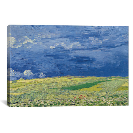 "Wheatfields under Thunderclouds // Vincent van Gogh // 1890 (26""W x 18""H x 0.75""D)"