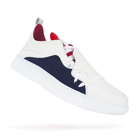 317 Low Sneakers // White + Red + Navy (US: 7)