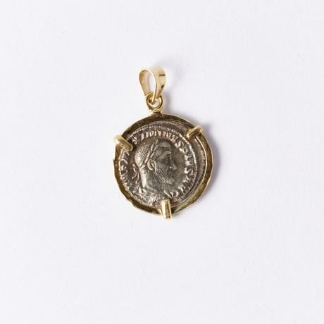 Roman Silver Coin of Maximinus, 235-238 AD // 14K Gold Bezel