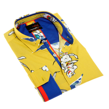 Cristopher Print Button-Up Shirt // Yellow (S)